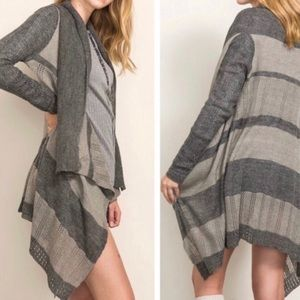 Flowing Gray Contrast Open Knit Cadigan